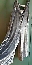 ANTHROPOLOGIE Velvet Overall One Piece Jumpsuit Silvery Mauve Small