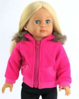 """Doll Clothes 18"""" Coat Hot Pink Hooded Fleece Fits American Girl Dolls"""