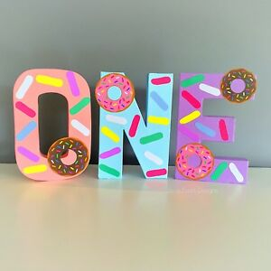 Donut grow up Birthday Party Decorations Letter Number 1st  ONE TWO cake table