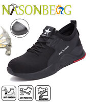 Mens Safety Mesh Shoes Toe Steel Lightweight Work Cap Boots Hiking Trainers UK