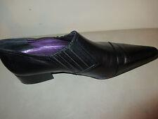 Women's Jean Mriault black leather pointy toe slip on size 7-7 1/2  37
