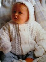 #163 Baby Boy Girl DK Hooded Jacket & Mitts Vintage Knitting Pattern 18-24""