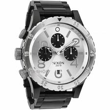 Nixon A486-180 48-20 Chrono Leather Black Gator Watch