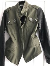 BUFFALO By David Bitton Jacket M Black Leatherlike Sleeves, Military Style