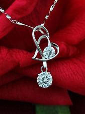 silver 925 heart pendant with Cz stone 45cm necklace jewellery gift present