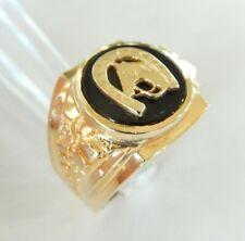 Men's Onyx Horse Shoe 14k Yellow Gold Ring Caballo Herradura Hombres Oro Anillo
