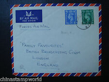 China cover fm hk to london forces airmail,dd 7 FEB 1956