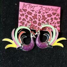 New Fashion Betsey Johnson rare Alloy rhinestone Enamel peacock earring Jewelry