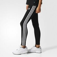 ADIDAS ORIGINALS 3 STRIPES LEGGINGS -SIZE UK 6-22  BLACK-  BNWT  340 SOLD!