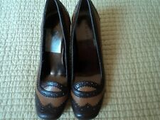 Rampage  Brown Two Tone Round Toe Wingtip High Heel Pumps Shoes Womens 8M