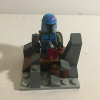 Authentic Lego Star Wars Blue Mandalorian Lego Minifigure with Defense Fort