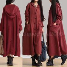 Women Ladies Solid Retro Long Dress Hoodie Hooded Casual Loose Plus Size Dress