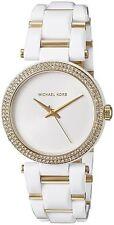 New MICHAEL KORS MK4315 Delray White Resin & Gold Crystal Women's Watch $275