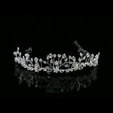 Bridal Flower Rhinestone Crystal Prom Wedding Crown Tiara 8583