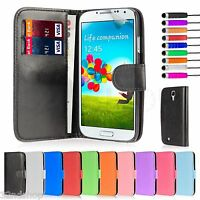 PU Leather Book Case Cover for Samsung Galaxy S4 + Screen Protector & Stylus