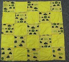 New baby crib quilt flannel rag soft yellow John Deere tractor farm