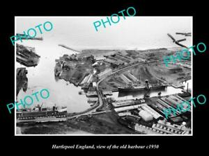 OLD 8x6 HISTORIC PHOTO OF HARTLEPOOL ENGLAND VIEW OF THE OLD HARBOUR c1950