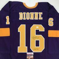 Autographed/Signed MARCEL DIONNE HOF 92 Los Angeles LA Purple Jersey JSA COA