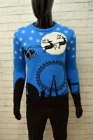 Maglione Uomo MERRY CRISTMANS Taglia Size S Felpa Pullover Sweater Man  Azzurro