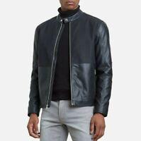 Men's Kenneth Cole Reaction Black Size XL Faux-Leather Motor Jacket MSRP $159