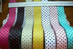 Grosgrain Ribbon 38mm 3 Metre lengths with Coloured SPOTS - 7 Colour Choice LR6