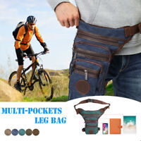 Mens Motorcycle Rider Drop Leg Bag Pouch Tactical Military Belt Waist Fanny Pack