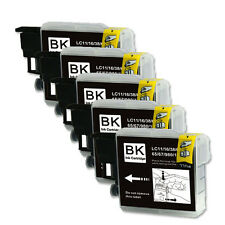5 PK BLACK Ink Jet Replacement for LC61 Brother MFC 290C 295CN 490CW J410w