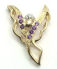 Sterling Silver 925 Gold Tone Purple Amethyst CZ Crown Angel Wings Pendant