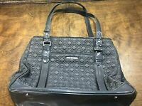 Vera Bradley Large Gray Quilted Handbag / Shoulder Bag Purse / Tote