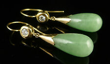 ANTIQUE VICTORIAN DIAMOND JADE EARRINGS LONG 18CT GOLD