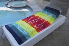 "Lacoste Crocodile Stripe Rainbow Large Pool Beach Towel 36 x 72"""