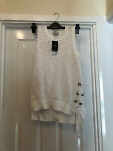 Next White Tank Top With Side Ribbon Size 10