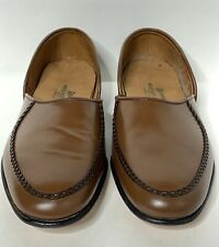 NEW Hitchcock Wide Size Mens Brown Leather Driving Shoes Loafers Size 8 Slip On