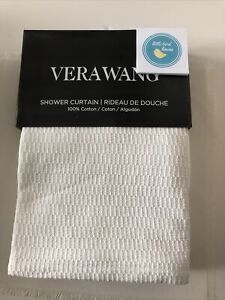 Vera Wang Shower Curtain WHITE 100% Cotton 70 x 72 Brand New Factory Folded