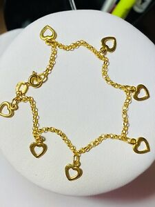 "18K 750 Fine Saudi Gold 7.5"" Long Womens Heart Charm Bracelet With 5.13g 2.5mm"
