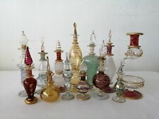 Perfume Scent Bottle Egyptian Blown Glass x 12 and Oil Scent Burner
