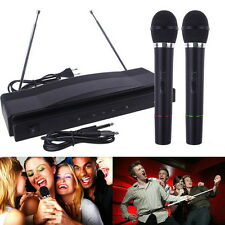 PRO WIRELESS DUAL MICROPHONE SYSTEM AUDIO HANDHELD 2 x MIC CORDLESS RECEIVER FY