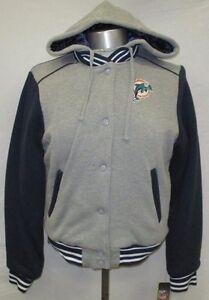 Miami Dolphins Women S, L, XL Full-Zip & Snap Hooded Cloth Jacket NFL G-III