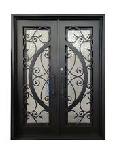 """Barry Double Front Entry Wrought Iron Door Cube Glass 72"""" x 96"""" Right Active"""