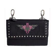 Genuine Leather Belt Bag - Hip Purse - Studded - Pink Heart Biker / Motorcycle