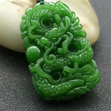 2018 China hand-carved Green dragon jade pendant Necklace Amulet Bridal jewelry
