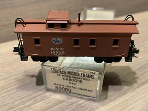 N Scale Micro-Trains NYC 34' Wood Sheathed Caboose New York Central 50060 #19559