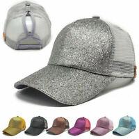 Summer Glitter Adjustable Mesh Trucker Ponytail Baseball Cap Women Girls Hat CHW