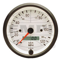 VW BUG AIR COOLED, VDO WHITE COCKPIT SPEEDOMETER ,120 MPH, 3-3/8  437202