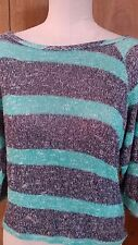 C C California Teal Gray Striped Cotton Blend Soft Sweater Womens size Medium
