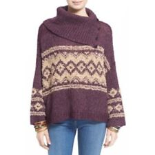 Free People Sweater Sz L Merlot Pea Ivory Fairisle Split Turtle Neck Casual