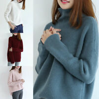 Womens Wool Cashmere Knitted Sweater Turtle Roll Neck Warm Stretch Jumper Tops