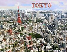 Japan - TOKYO TOWER Skyline - DAY - travel souvenir FLEXIBLE fridge magnet