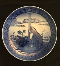 Royal Copenhagen Christmas Rose And Cat Jul Annual Christmas Plate 1970