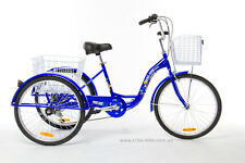 "Trike Bike Adult Tricycle 24"" Aluminium 3 Wheels 6 Gears & Baskets Sapphire Blue"